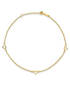 "Diamond-Cut Heart Anklet with 1"" ext. in 14k Yellow Gold"
