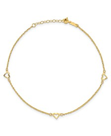 """Diamond-Cut Heart Anklet with 1"""" ext. in 14k Yellow Gold"""