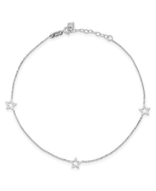 "Macy's Star Anklet with Adjustable 1"" Ext. in 14k White and Yellow Gold"