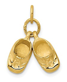 Baby Shoes Charm in 14k Polished Yellow Gold