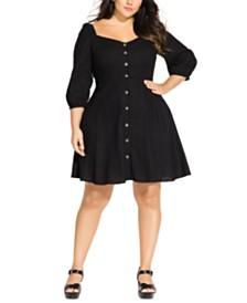 City Chic Trendy Plus Size Button-Front A-Line Dress