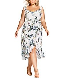 Trendy Plus Size Glasshouse Floral-Print Drawstring Dress