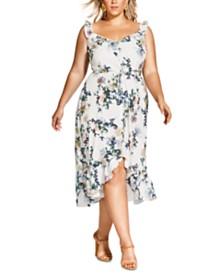 City Chic Trendy Plus Size Glasshouse Floral-Print Drawstring Dress