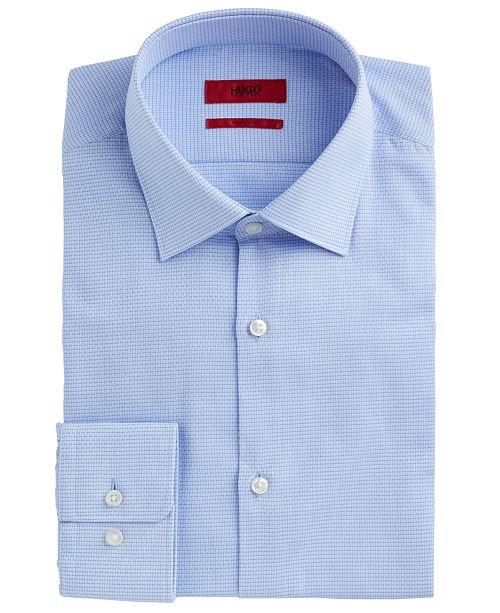 Hugo Boss HUGO Men's Slim-Fit Light Blue Basketweave Dress Shirt
