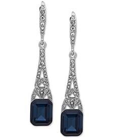 Silver-Tone Pavé & Stone Drop Earrings