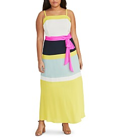 RACHEL Rachel Roy Trendy Plus Size Colorblocked Maxi Dress