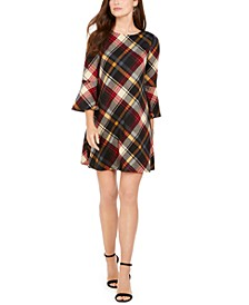 Plaid Bell-Sleeve Shift Dress