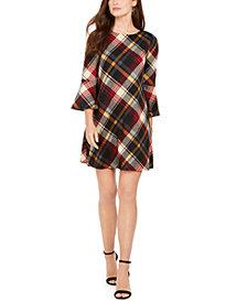 Jessica Howard Plaid Bell-Sleeve Shift Dress