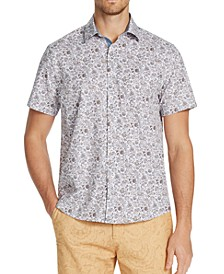 Men's Slim-Fit Performance Stretch Ornate Floral Short Sleeve Shirt