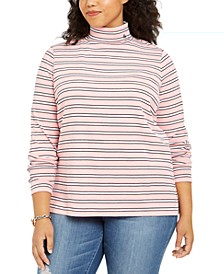 Plus Size Cotton Striped Turtleneck Top