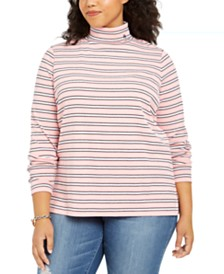 Tommy Hilfiger Plus Size Cotton Striped Turtleneck Top