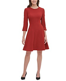 Button-Sleeve Fit & Flare Dress