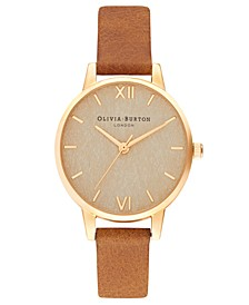 Women's Tan Leather Strap Watch 30mm