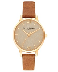 Olivia Burton Women's Tan Leather Strap Watch 30mm