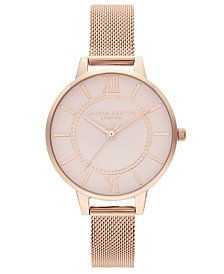 Olivia Burton Women's Wonderland Rose Gold-Tone Stainless Steel Mesh Bracelet Watch 34mm