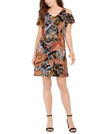 MSK Petite Cold-Shoulder Shift Dress