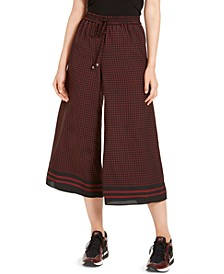 Printed Wide-Leg Cropped Pants
