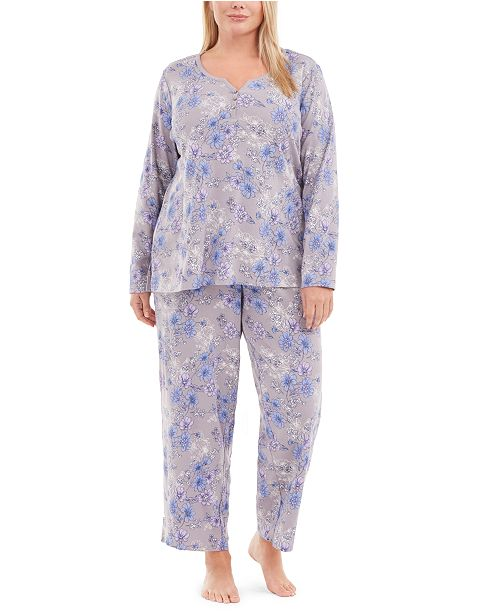 Charter Club Plus Size Cotton Pajamas Set, Created for Macy's