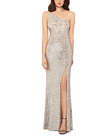 Petite One-Shoulder Sequined Gown