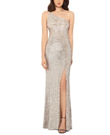 XSCAPE One-Shoulder Sequin Gown