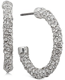 "Lauren Ralph Lauren Small Silver-Tone Pavé Small Open Hoop Earrings 1"""