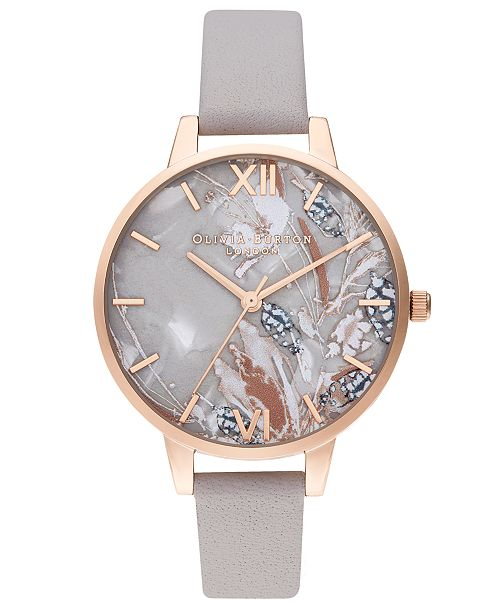 Olivia Burton Women's Abstract Floral Gray Lilac Leather Strap Watch 34mm