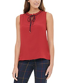 Sleeveless Tie-Neck Top