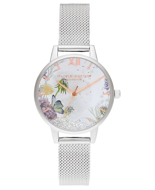 Olivia Burton Women's Wishing Watch Stainless Steel Mesh Bracelet Watch 30mm