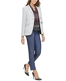 Elbow-Patch Blazer, Printed Blouse & Ankle Pants