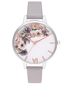 Women's Watercolour Floral Gray Lilac Leather Strap Watch 34mm