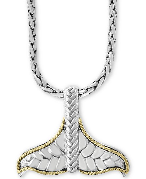 "EFFY Collection EFFY® Mermaid Tail 17"" Pendant Necklace in Sterling Silver & 18k Gold"