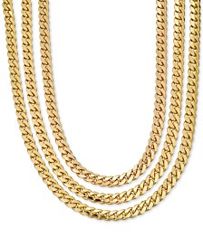Men's Heavy Curb Link Chain Collection in 18K Gold-Plated Sterling Silver