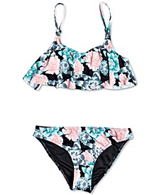 Big Girls 2-Pc. Surf My Mind Floral-Print Flutter Swimsuit
