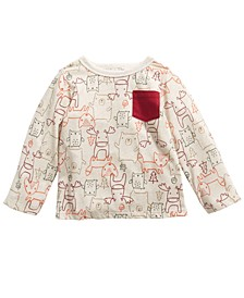 Baby Boys Long-Sleeve Woodland Animals T-Shirt, Created For Macy's