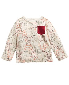 First Impressions Baby Boys Long-Sleeve Woodland Animals T-Shirt, Created For Macy's