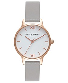Women's Gray Leather Strap Watch 30mm