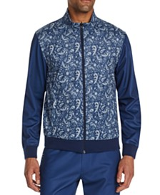 Tallia Men's Slim-Fit Stretch Paisley Track Jacket