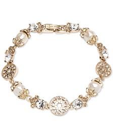 Gold-Tone Imitation Pearl & Crystal Link Bracelet