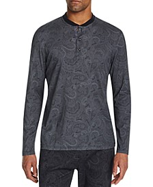 Men's Slim-Fit Mercerized Paisley Long Sleeve Henley