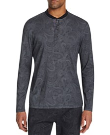Tallia Men's Slim-Fit Mercerized Paisley Long Sleeve Henley