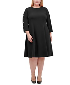 Tommy Hilfiger Plus Size Button-Sleeve Fit & Flare Dress