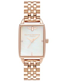 Women's Bee Hive Rose Gold-Tone Stainless Steel Bracelet Watch 20mm