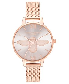 Women's 3D Bee Rose Gold-Tone Stainless Steel Mesh Bracelet Watch 34mm