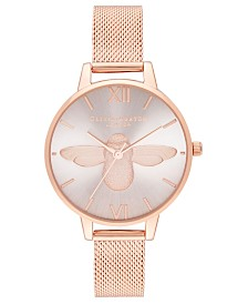 Olivia Burton Women's 3D Bee Rose Gold-Tone Stainless Steel Mesh Bracelet Watch 34mm
