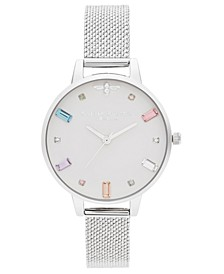 Women's Rainbow Bee Stainless Steel Mesh Bracelet Watch 34mm