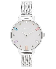 Olivia Burton Women's Rainbow Bee Stainless Steel Mesh Bracelet Watch 34mm