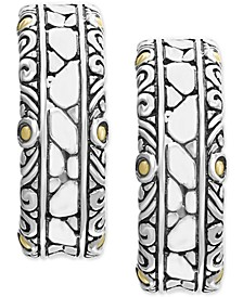 EFFY® Crackle Stone Hoop Earrings in Sterling Silver & 18k Gold