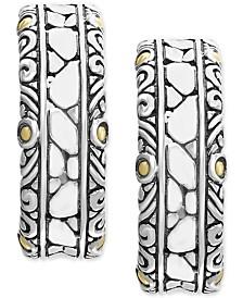 EFFY® Crackle Stone Hoop Earrings in Sterling Silver & 18k Gold