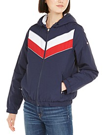 Varsity-Stripe Hooded Jacket