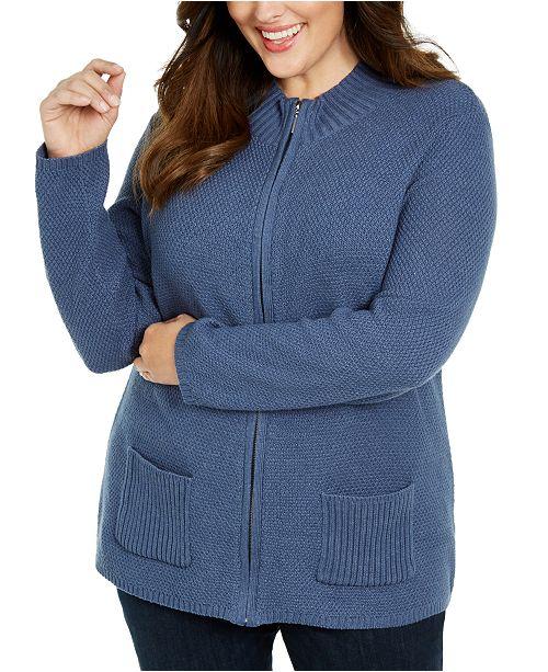 Karen Scott Plus Size Knit Zip-Up Sweater, Created For Macy's